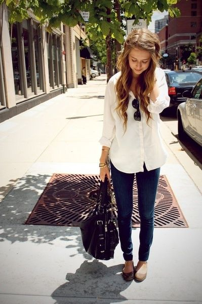 oversized shirt, skinny jeans, and flats