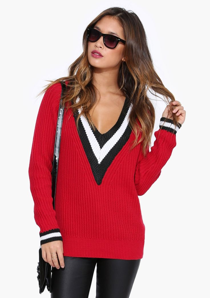 Cozy Red V Neck Sweater