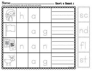 Blends Cut And Paste Worksheets Ccvc And Cvcc