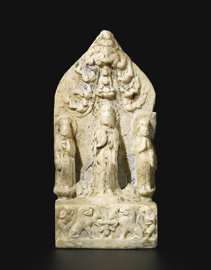 A white marble Buddhist stele, China, Northern Qi dynasty, dated Tianbao 4th year, corresponding to 553 AD