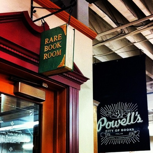 Powell's Books Rare Book Room. I've never seen this cool sign...hmmm