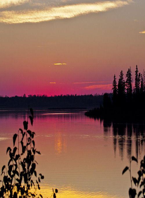 Astotin Lake at Sunset