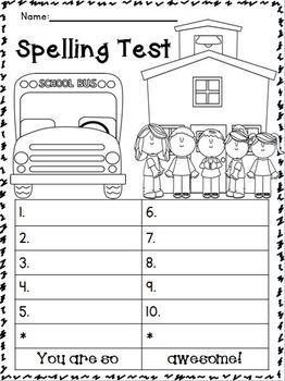 spelling test printable. Black Bedroom Furniture Sets. Home Design Ideas