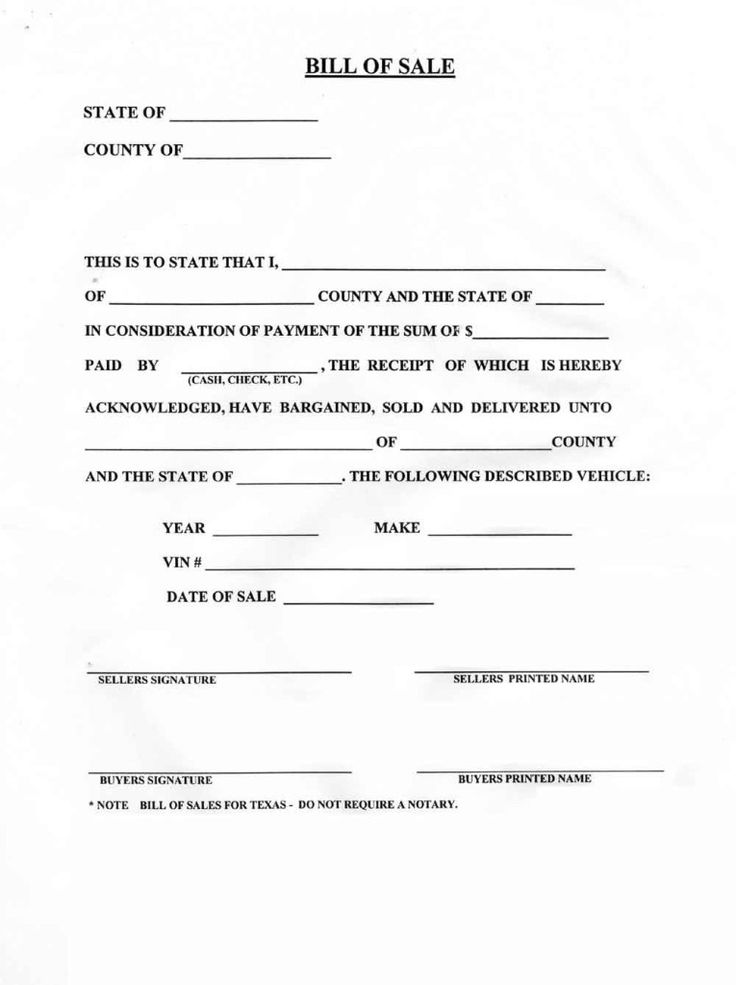 Blank bill of sale for a car form download pictures of how