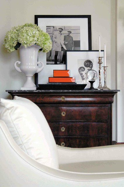 Gorgeous styling is part of great Hamptons style - see how this vignette is layered and balanced to perfection