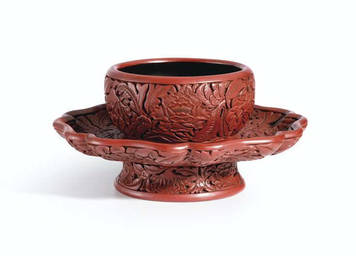 An Exceptional and Important Carved Cinnabar Lacquer Bowl Stand, Ming Dynasty, Hongwu Period, Yongle And Xuande Marks