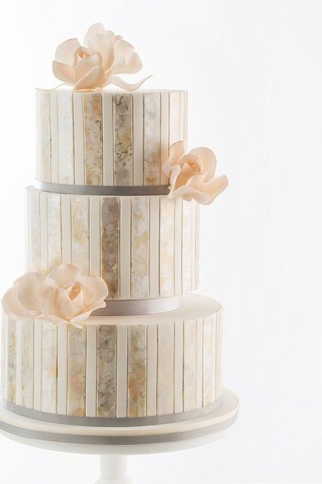 metallic watercolor wedding cake by AK Cake Design; photo: Lara Ferroni