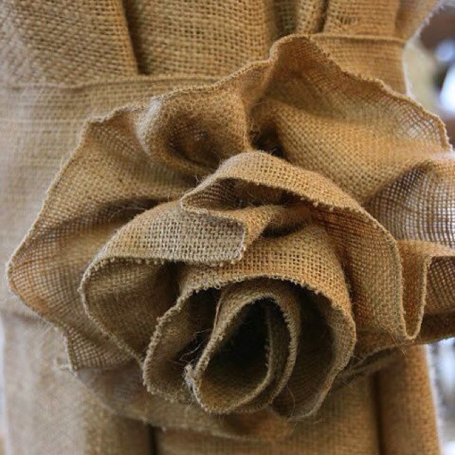 Burlap curtains - Rose Tie Backs
