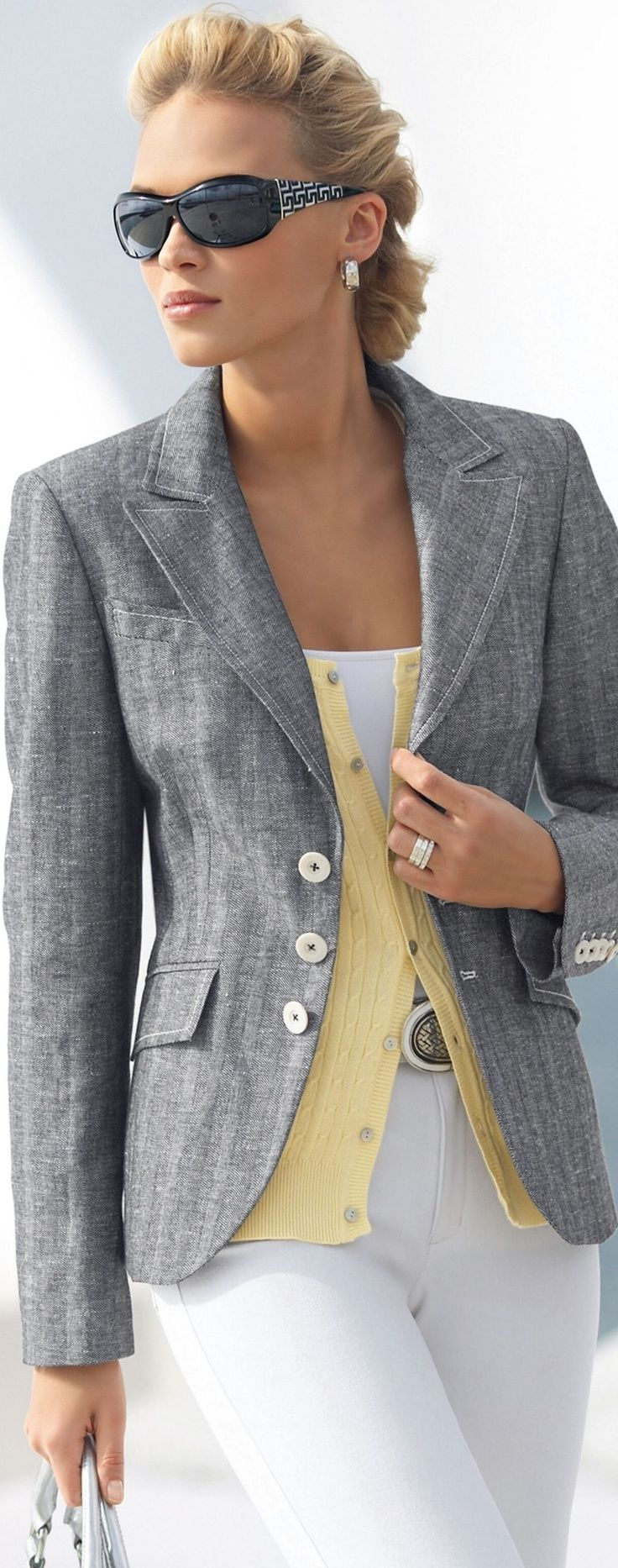 grey jacket & yellow cardi