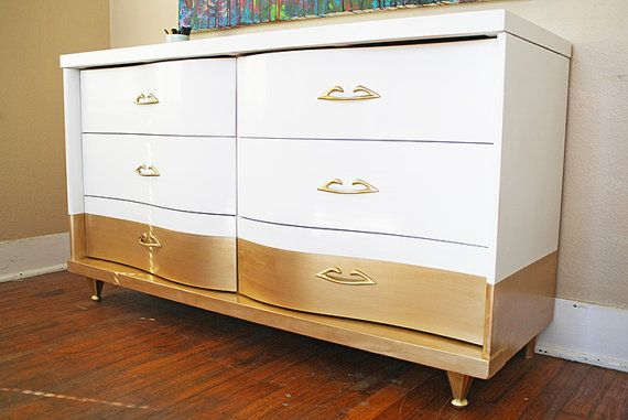 LOVE THE GOLD! SOLD Curvy Gold Dipped Dresser SOLD by HayleonVintage on Etsy, $850.00