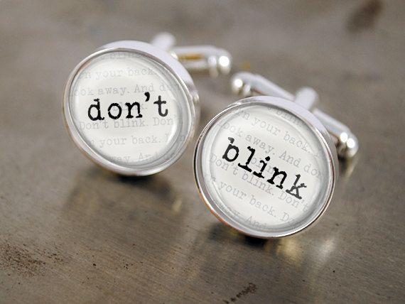 Doctor Who Cufflink DON T BLINK Tardis Dalek by AlexaLane on Etsy