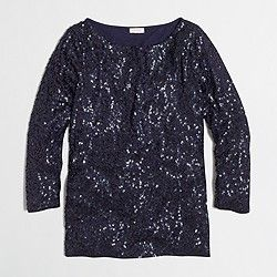 Factory three-quarter sleeve draped sequin tee