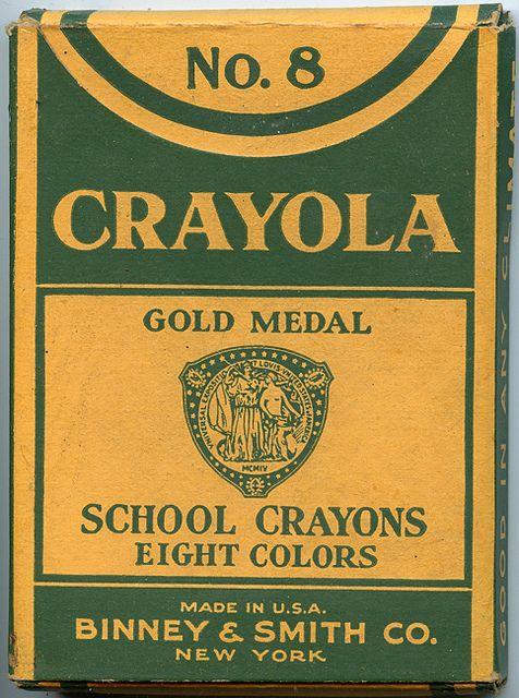 A very elegant, frill-free box of vintage Crayola crayons. #Crayola #crayons #vintage #stationery #office #school #supplies