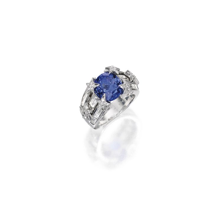 18 Karat White Gold, Sapphire and Diamond Ring, Chanel | Lot | Sotheby's