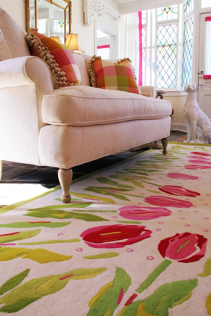 Custom Tulip rug in Living Room