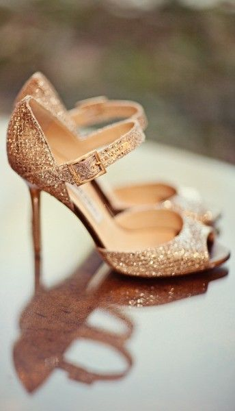 Rose Gold Bridal Shoes by Jimmy Choo #rockmywinterwedding @Derek Smith My Wedding