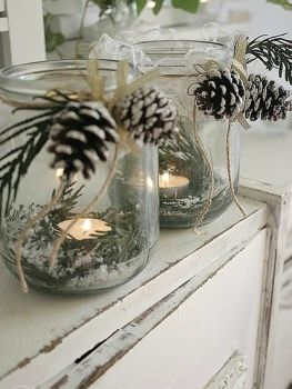 candles jar greenery