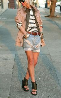 Boyfriend shorts + layers.