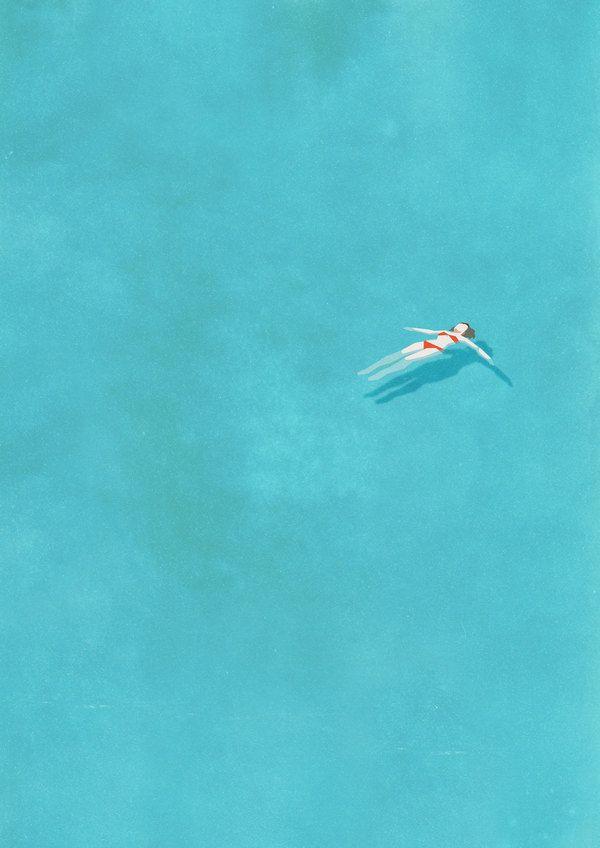 Alone Series by Belhoula Amir, blue, bikini, sea, drawing, painting, art,