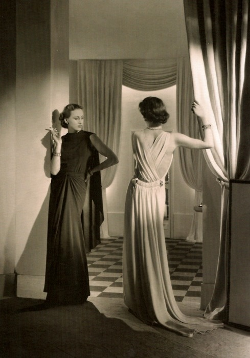 Crepe dresses by Lucien Lelong, 1935.
