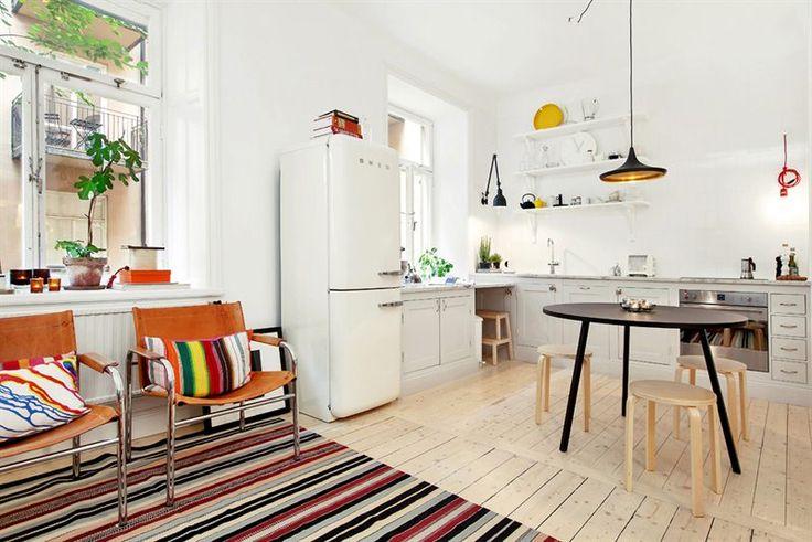 smeg fridge white kitchen