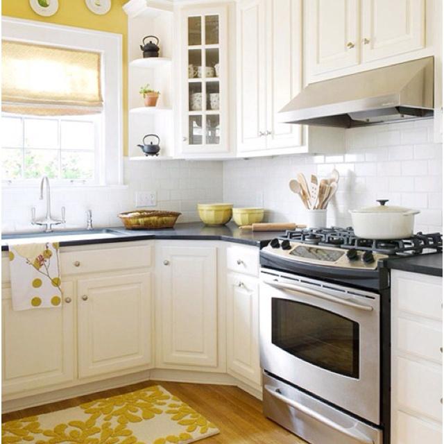 yellow walls white cabinets kitchen ideas pinterest on kitchen interior yellow and white id=63030