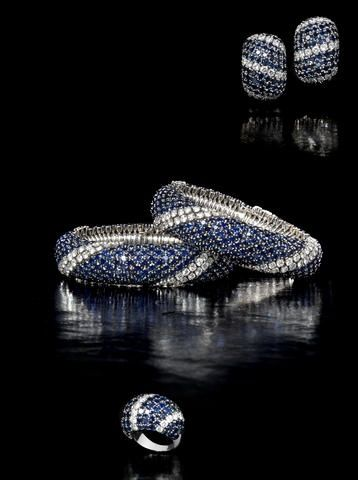 "A sapphire and diamond ""Pelouse"" suite, by Van Cleef & Arpels, circa 1970"