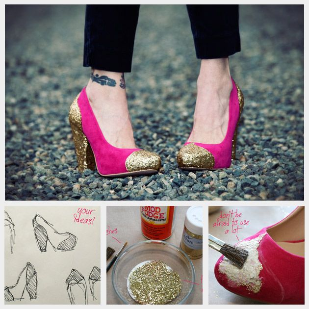 DIY glitter shoe tips