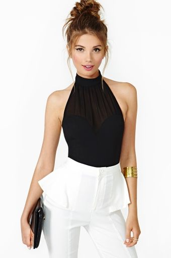 Mind Games Halter Top. And how flattering is that cut?! Makes for super feminine shoulders!