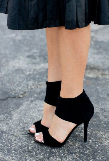 Velvety black heels with a thick ankle. B.Brian Atwood pricey $395.00