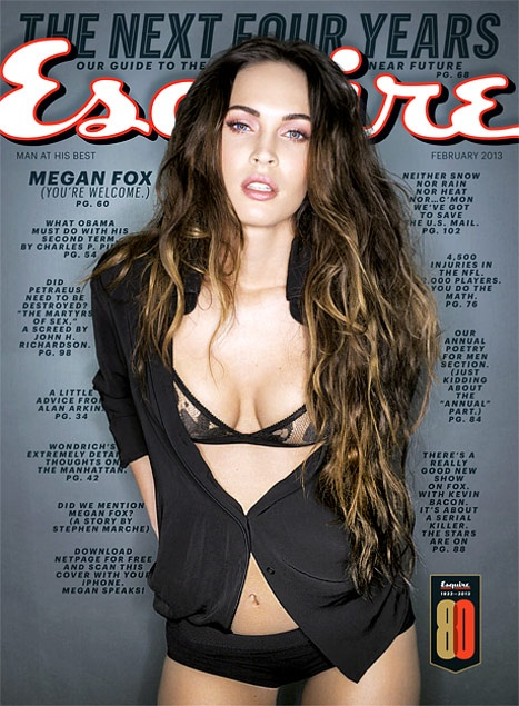 Megan Fox Wearing a bra and underwear on the cover of Esquire's February issue four months after son Noah's arrival