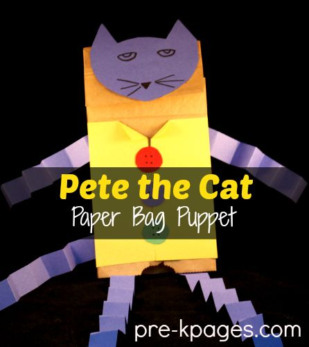 Teach Alliteration with Pete the Cat DIY Paper Bag Puppet #preschool #kindergarten