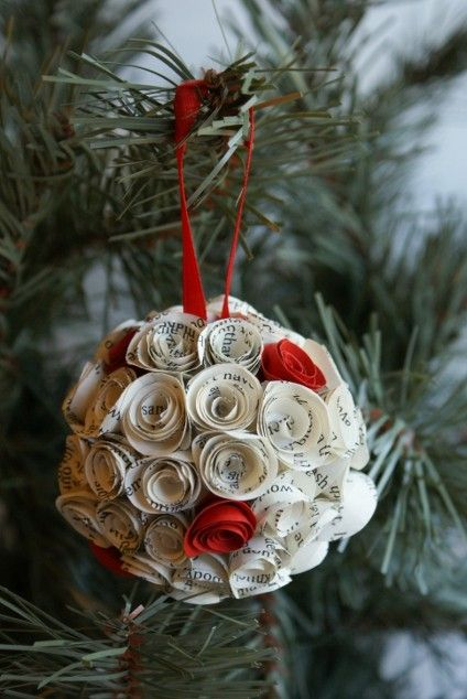 Eco Friendly Holiday Ornament Upcycled Book Pages