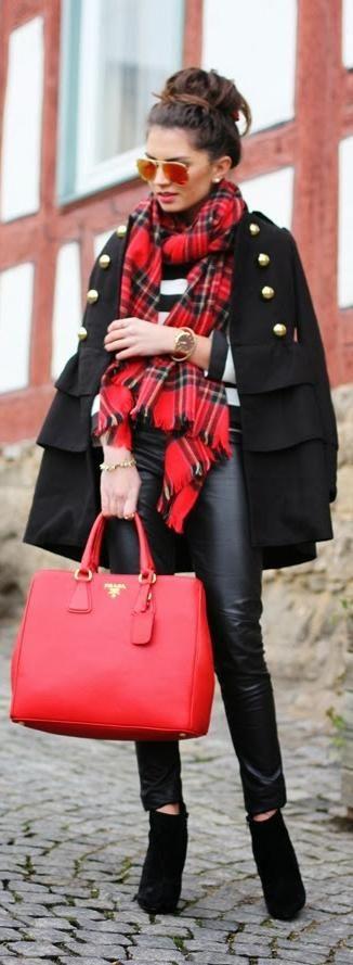 Red Prada handbag, plaid scarf & black winter coat combo, winter street style