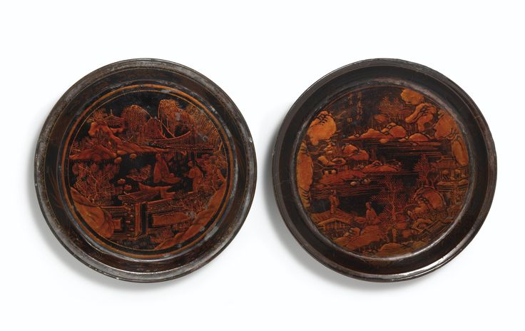 Two black lacquer 'zhaojin'-decorated 'Pavilion scene' dishes, 17th century