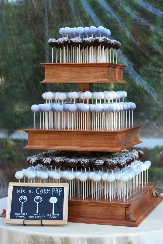 cake pop wedding cake instead of passing cake out to everyone. My dad is making this for our wedding but in the color black! :)