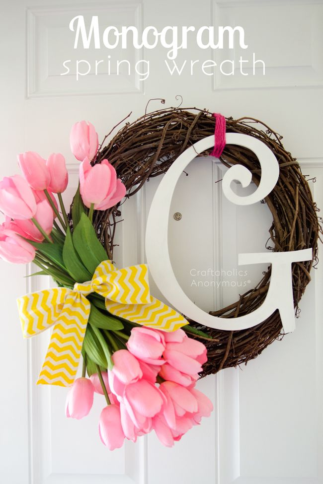 Monogram Spring wreath. This is a really pretty, happy spring wreath idea!