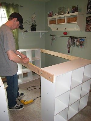 DIY White Craft Desk...with step by step instructions.