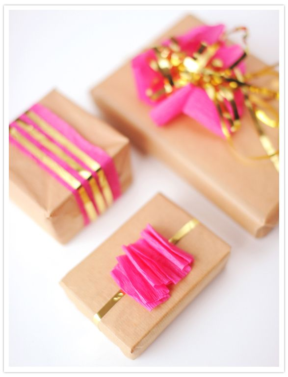 gold accented holiday gift wrap diy idea