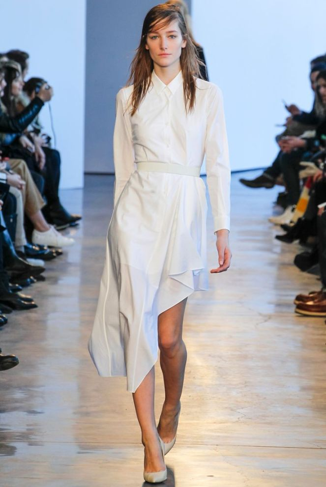 Theory fall 2014 rtw, white flowy dress, chiffon dress, collared dress