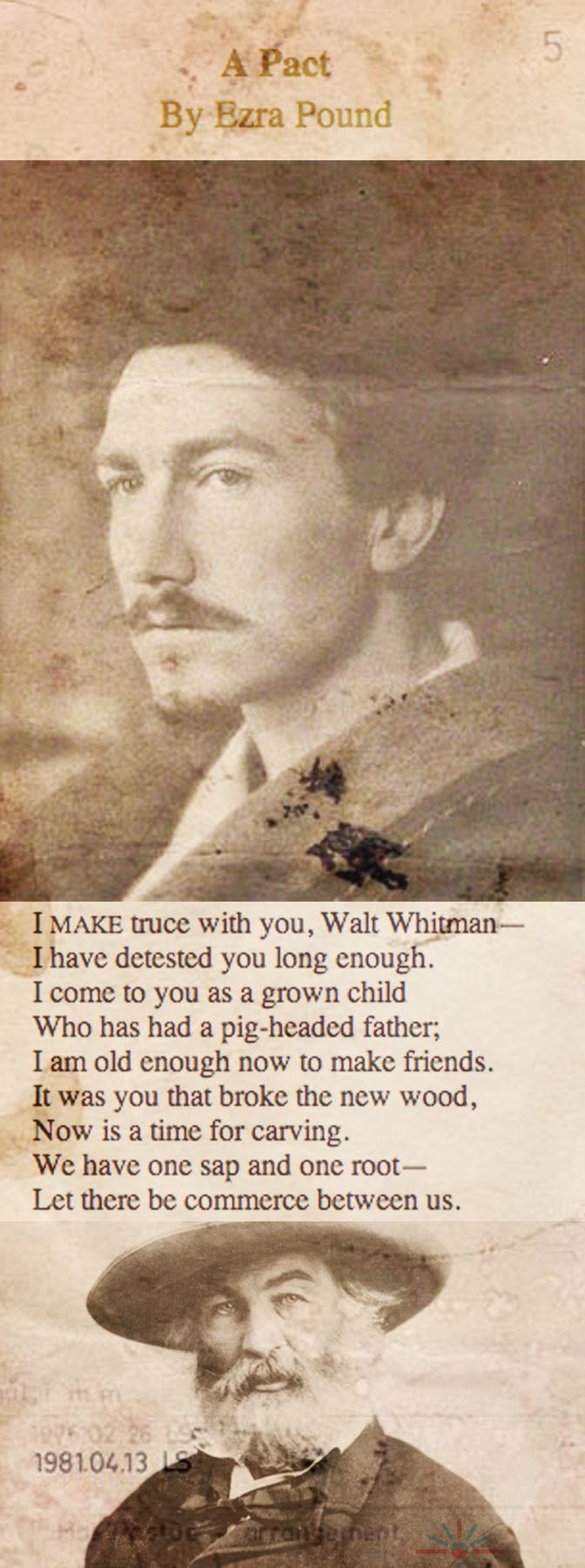 'A Pact' by Ezra Pound - a poem for Walt Whitman