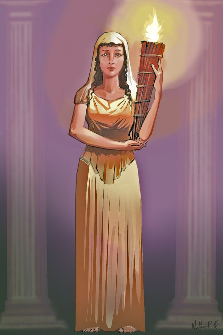 Roman Goddess Vesta represents the sacred heart or hearth of the home, the central fire which supplies heat and on which food is cooked. Nourishment and warmth, home and the center are Hers.