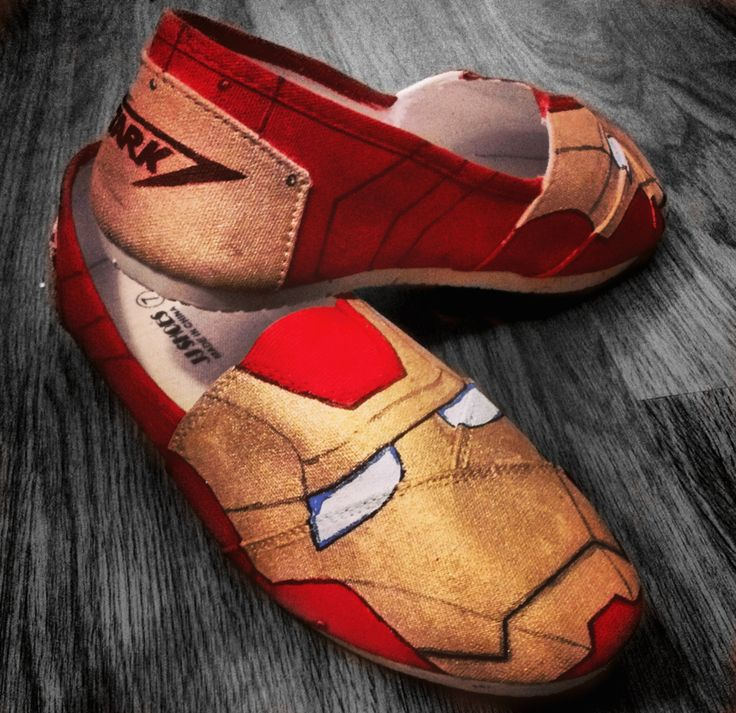 * Iron Man helmet pained on the front of both shoes * On the back there is a stark logo on both shoes* The price is for the work only, the customer must provide the shoes
