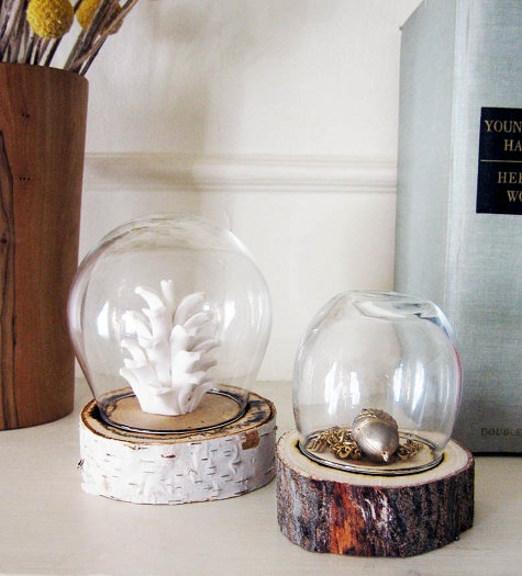 Display jars made from logs and a glass container.