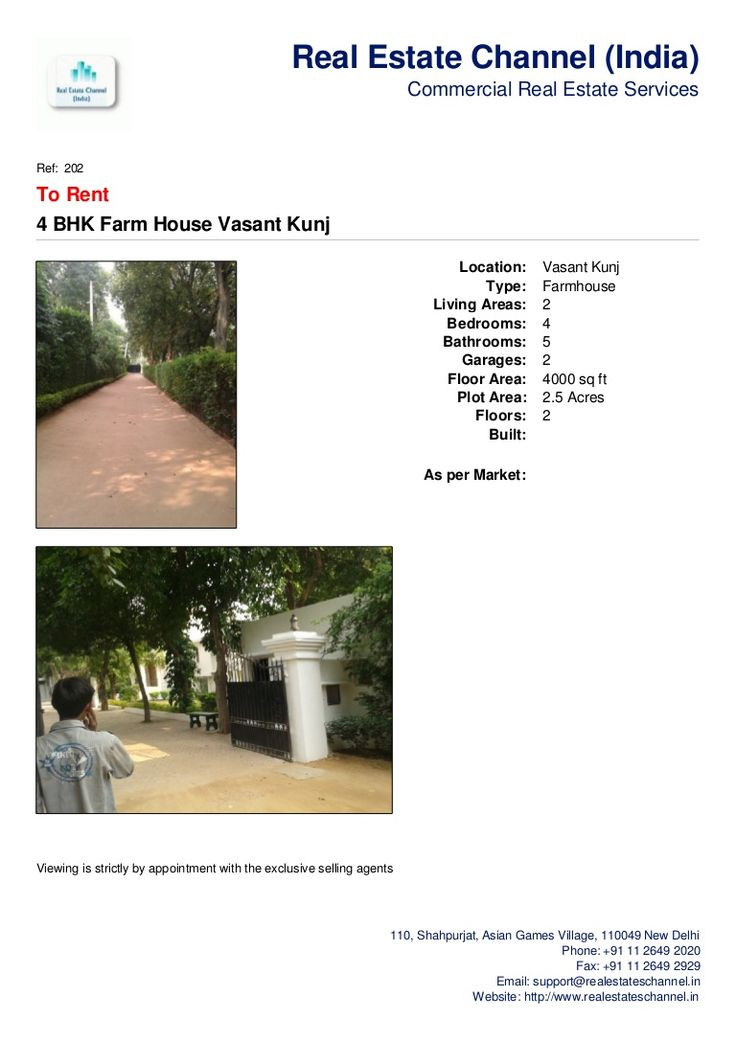 4-bhk-farm-house-vasant-kunj-on-rent by Real Estate Channel (India) via Slideshare