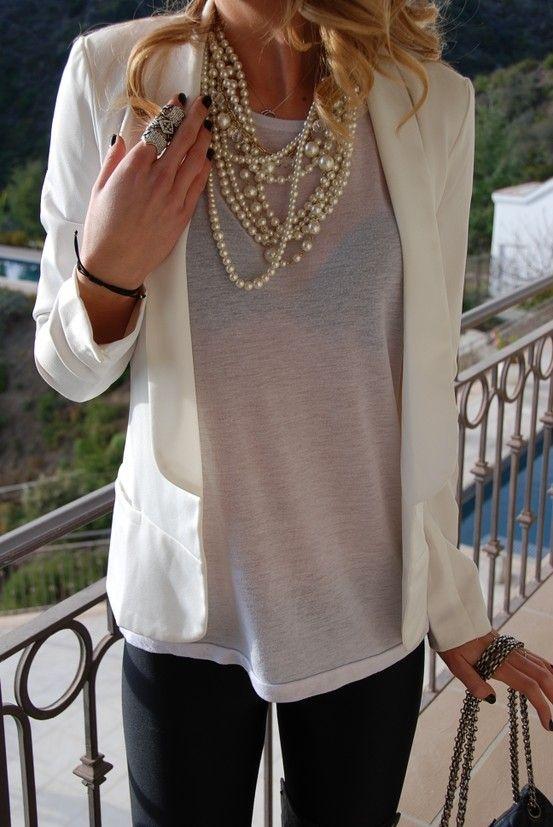 Grey t-shirt, pearls, blazer