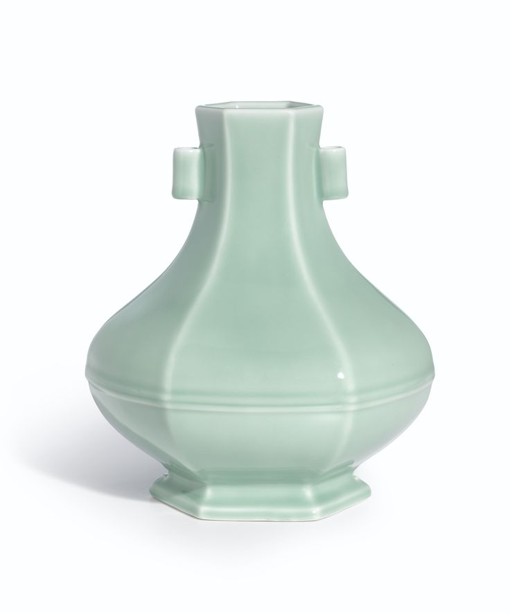 A fine and rare hexagonal celadon-glazed vase, Seal mark and period of Yongzheng