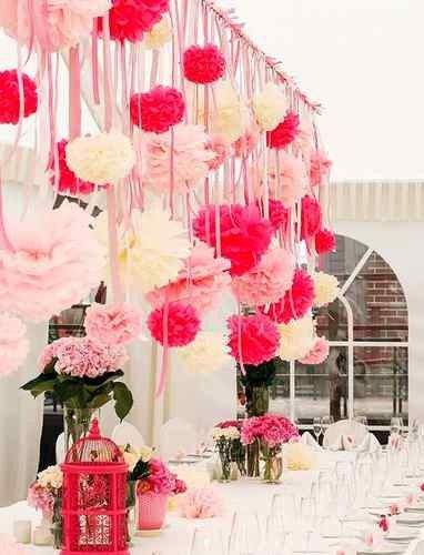Poms = a perfect touch for a Valentine's Day party - they beat hanging hearts any day of the week! #ValentinesDay More decor and design tips at http://brightnest.com.