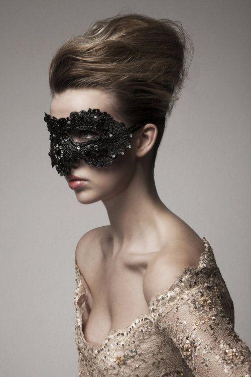 dramatic black lace mask
