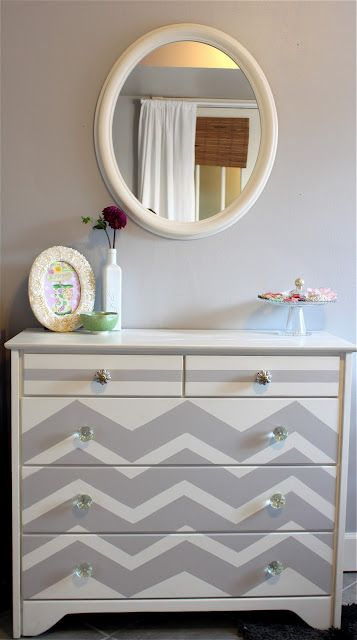 Furniture makeover #DIY. One idea for my entry way dresser I have yet to accomplish. Love me some chevron ;)